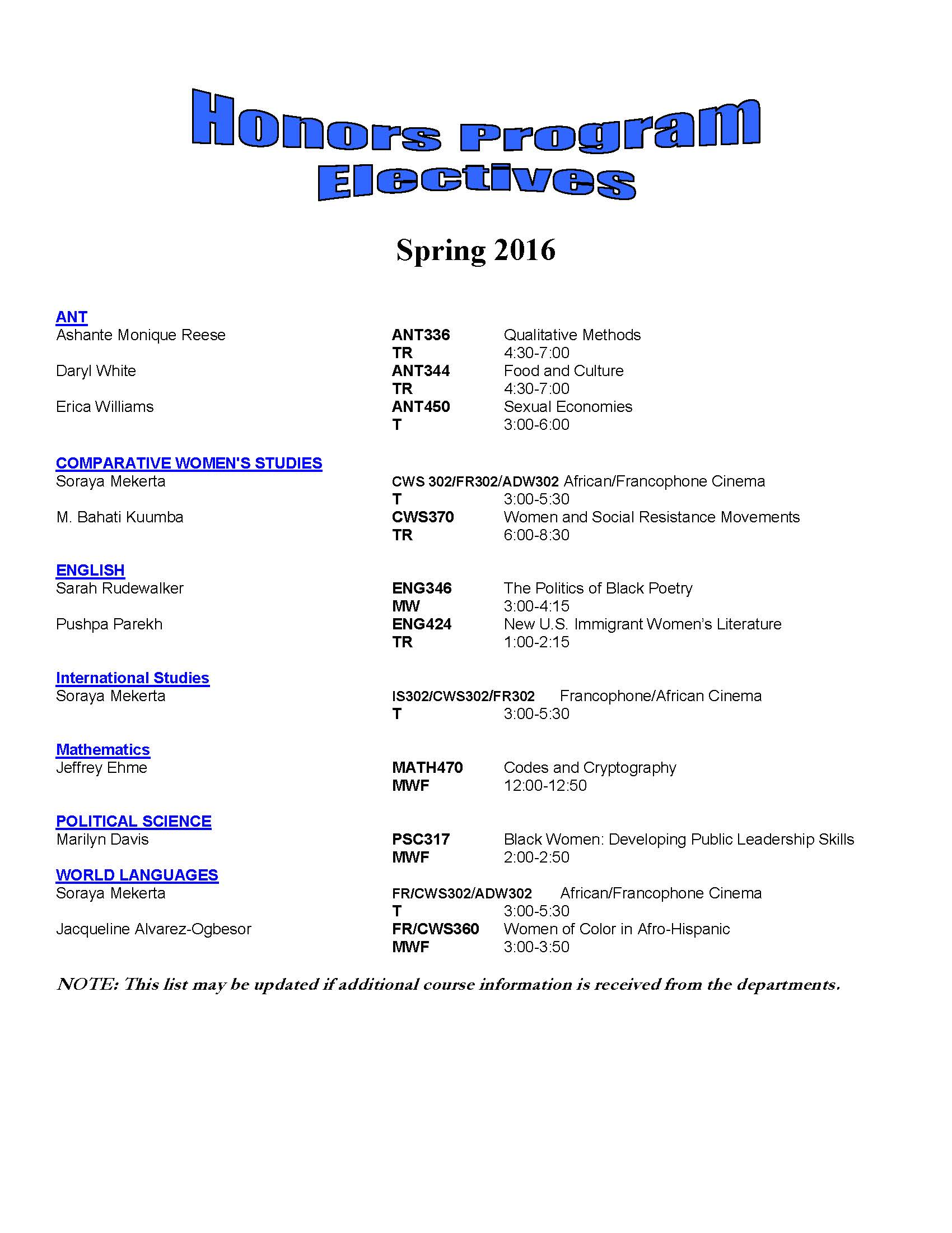 Spring 2016 Honors Program Electives